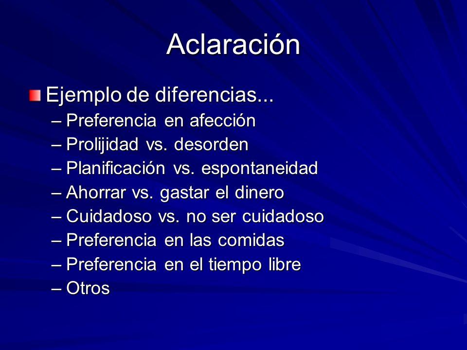 Aclaración Ejemplo de diferencias... Preferencia en afección