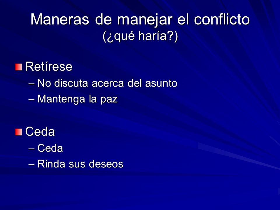 Maneras de manejar el conflicto (¿qué haría )