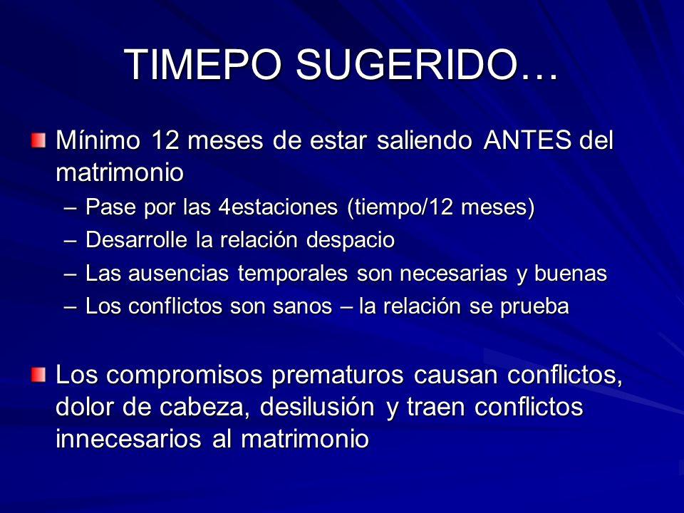 TIMEPO SUGERIDO… Mínimo 12 meses de estar saliendo ANTES del matrimonio. Pase por las 4estaciones (tiempo/12 meses)