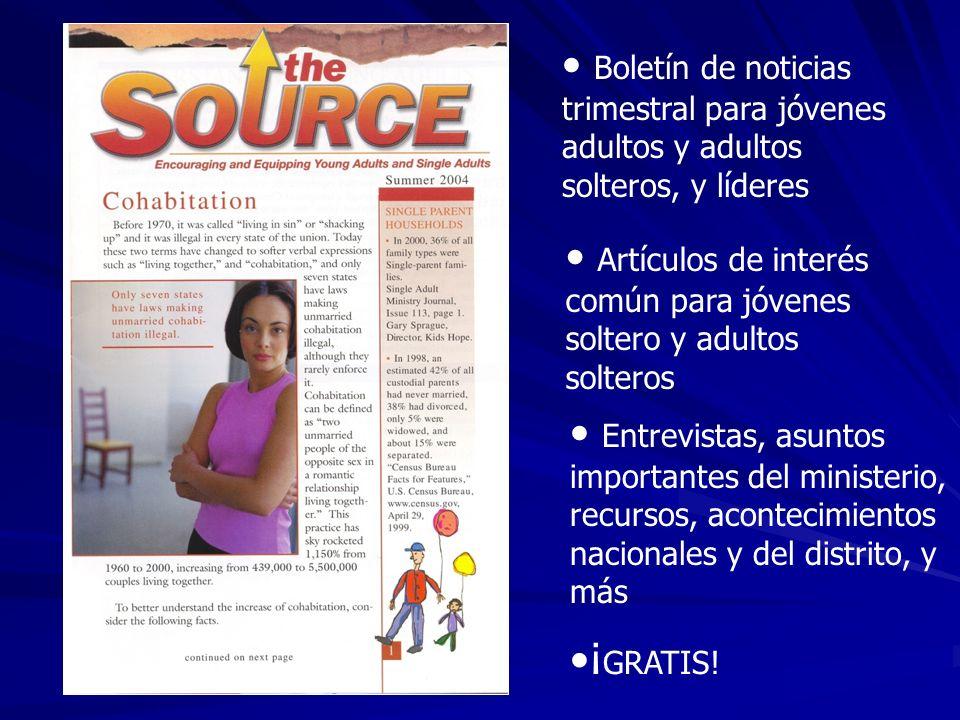 Boletín de noticias trimestral para jóvenes adultos y adultos solteros, y líderes