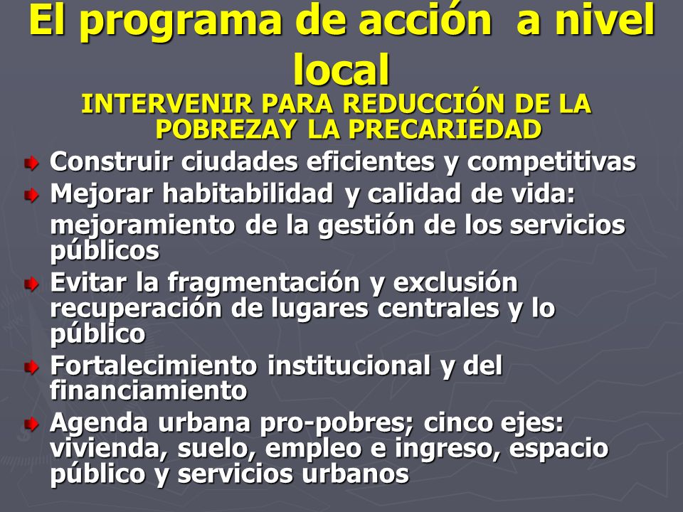 El programa de acción a nivel local