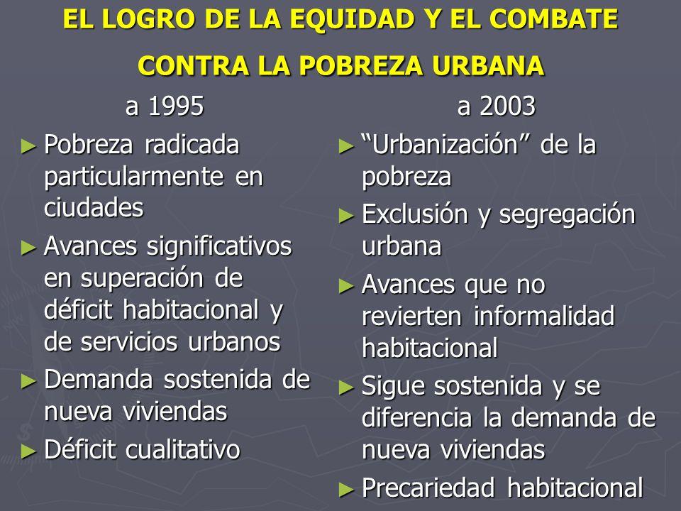 EL LOGRO DE LA EQUIDAD Y EL COMBATE CONTRA LA POBREZA URBANA
