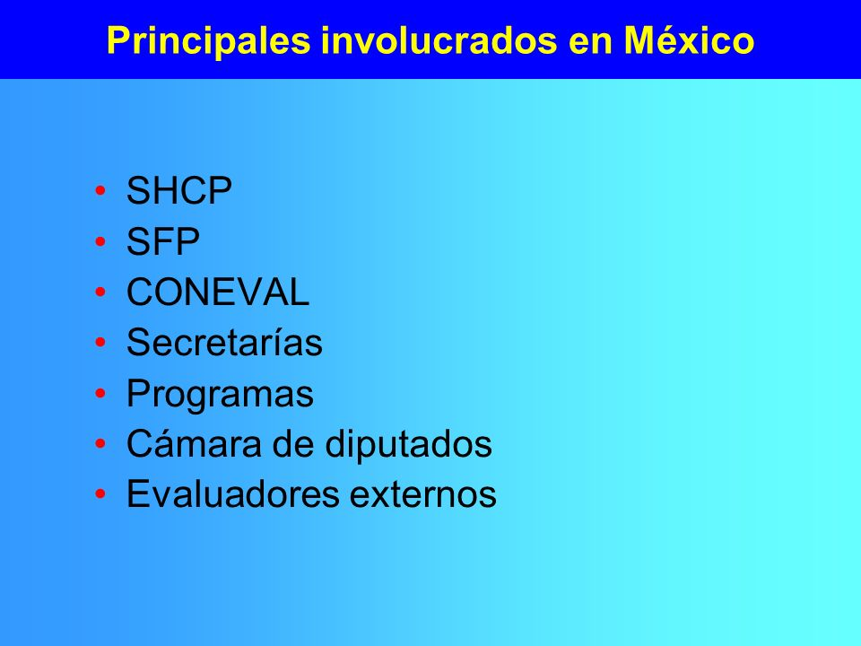 Principales involucrados en México