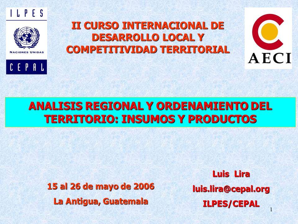 ANALISIS REGIONAL Y ORDENAMIENTO DEL TERRITORIO: INSUMOS Y PRODUCTOS