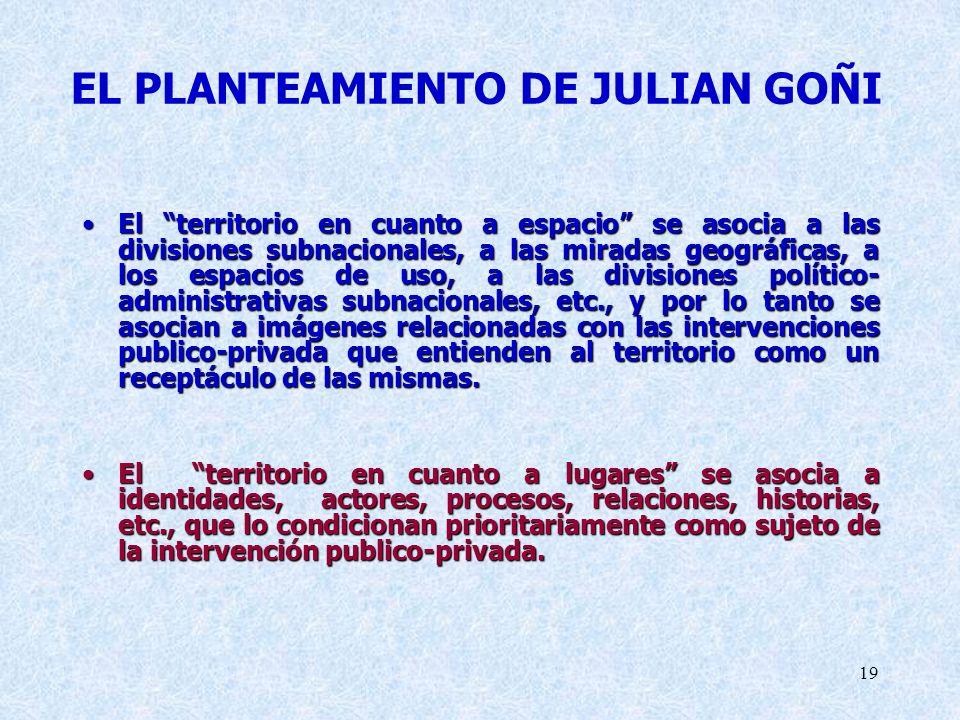 EL PLANTEAMIENTO DE JULIAN GOÑI