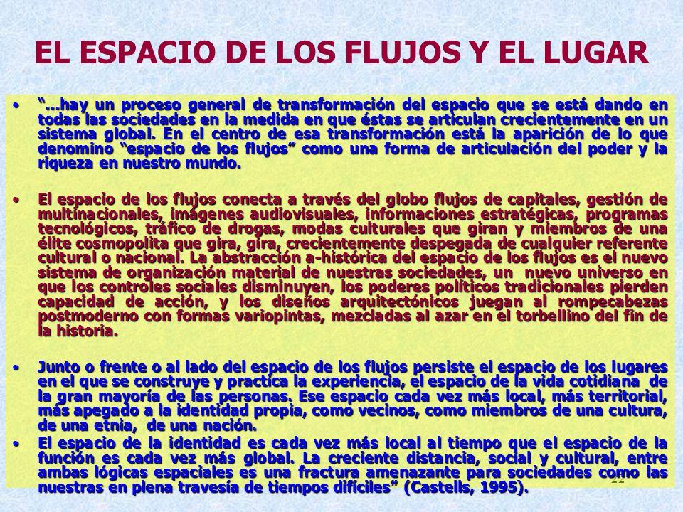 EL ESPACIO DE LOS FLUJOS Y EL LUGAR