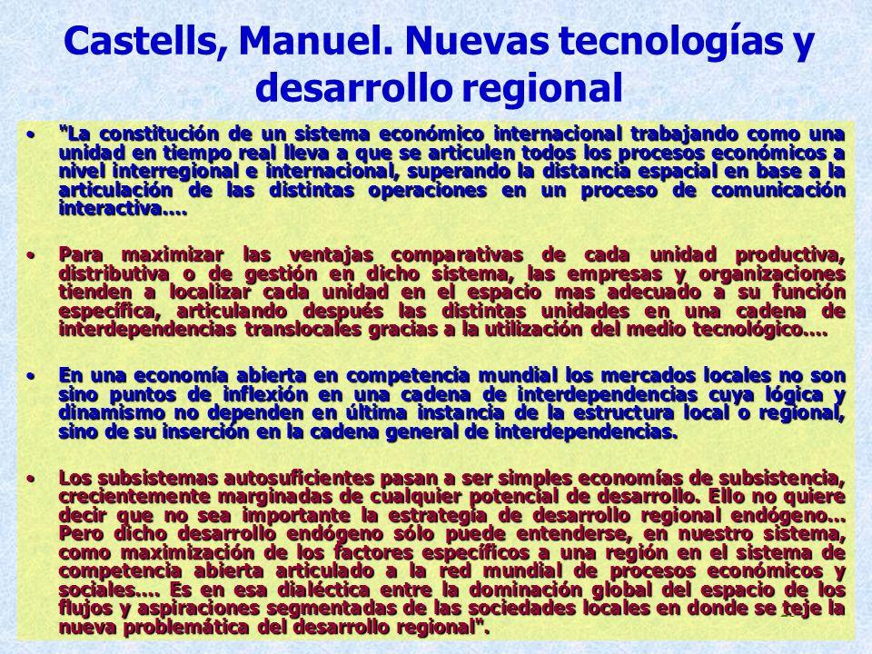 Castells, Manuel. Nuevas tecnologías y desarrollo regional