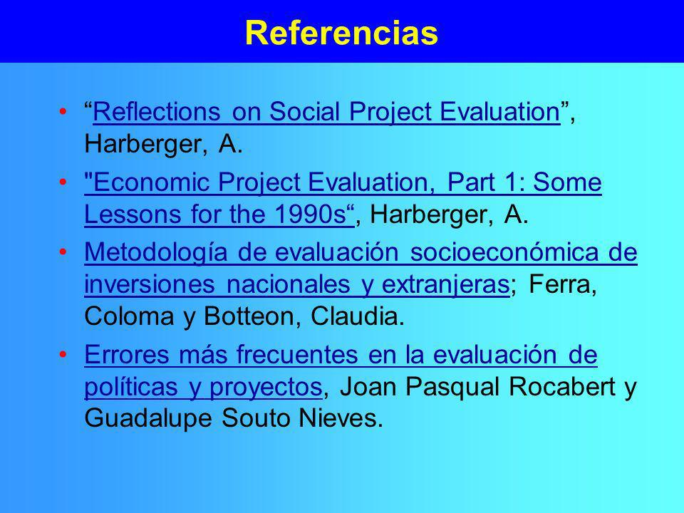 Referencias Reflections on Social Project Evaluation , Harberger, A.