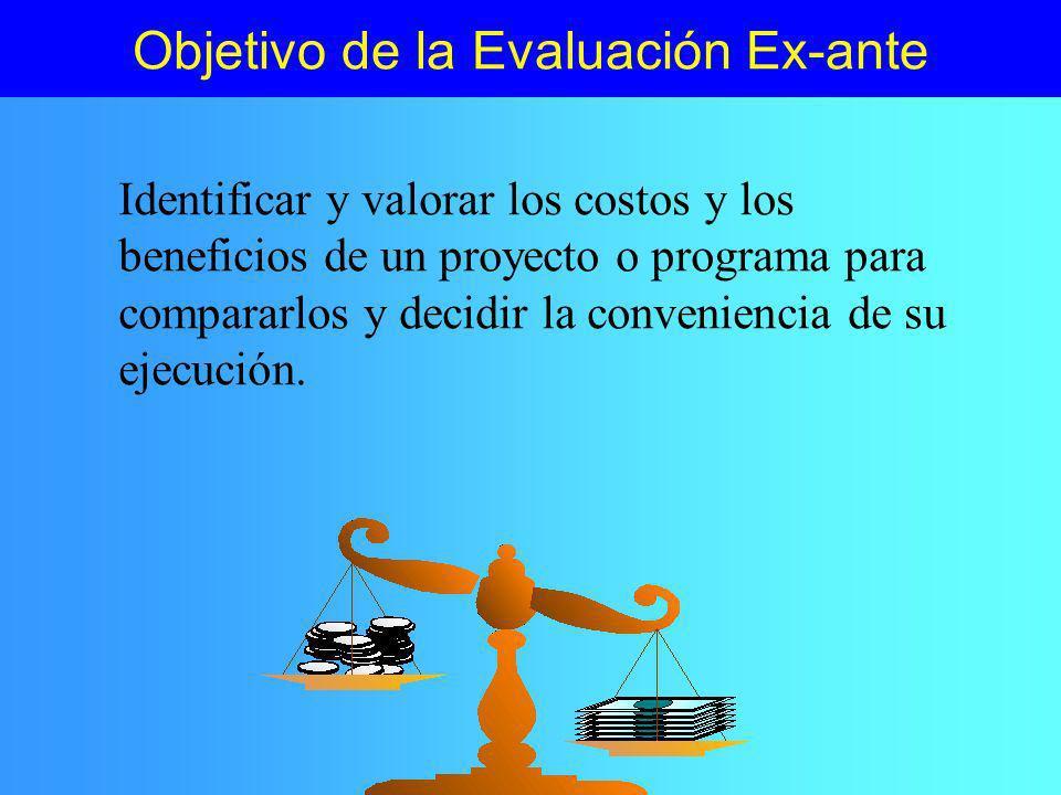 Objetivo de la Evaluación Ex-ante