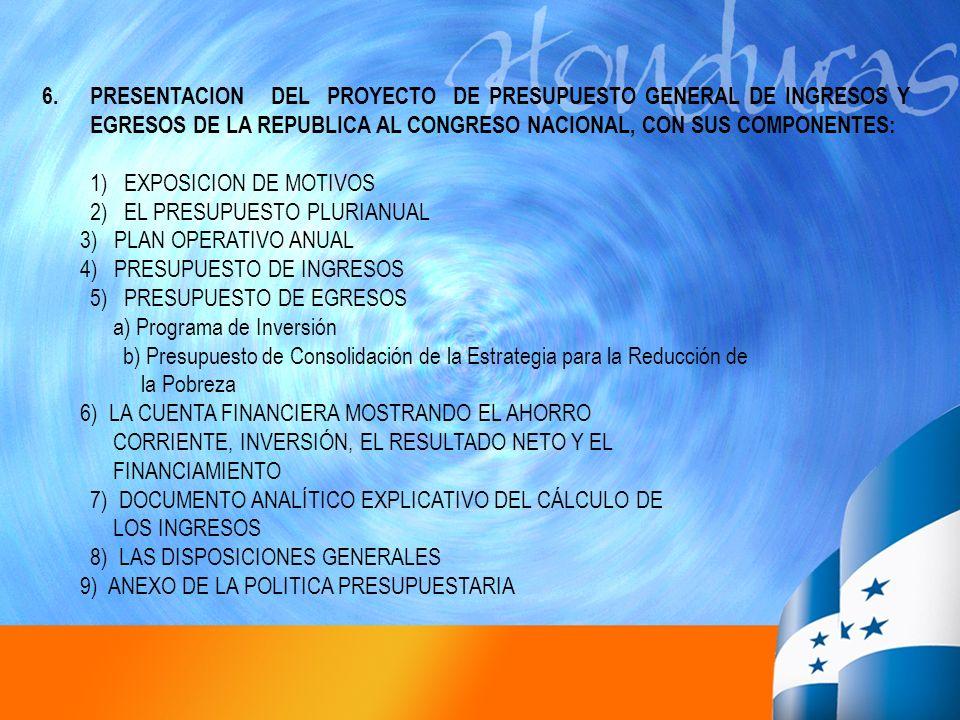 PRESENTACION DEL PROYECTO DE PRESUPUESTO GENERAL DE INGRESOS Y EGRESOS DE LA REPUBLICA AL CONGRESO NACIONAL, CON SUS COMPONENTES: