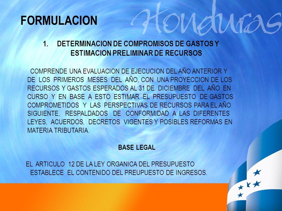 FORMULACION DETERMINACION DE COMPROMISOS DE GASTOS Y