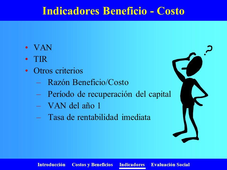 Indicadores Beneficio - Costo