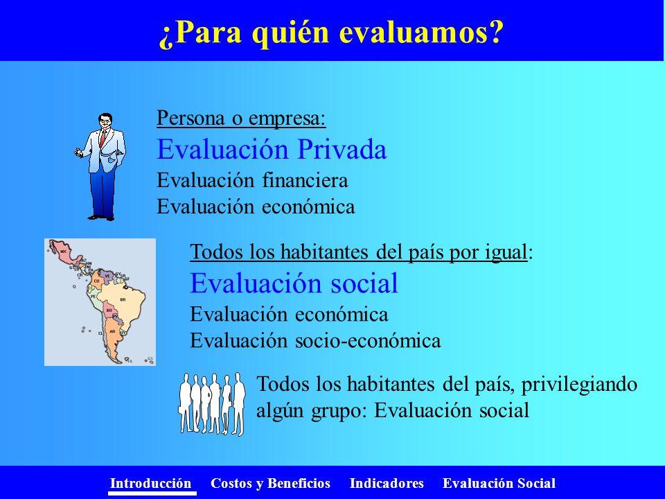 ¿Para quién evaluamos Evaluación Privada Evaluación social
