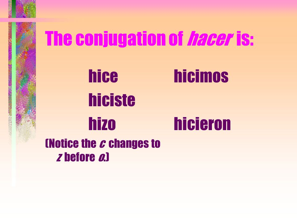 The conjugation of hacer is: