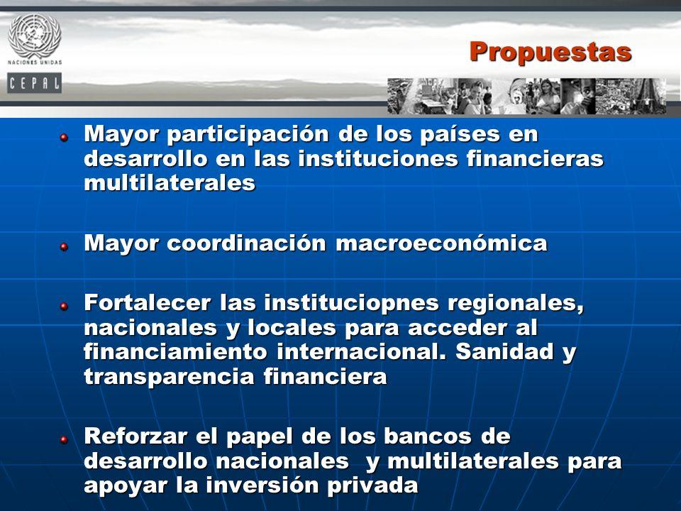 Propuestas Mayor participación de los países en desarrollo en las instituciones financieras multilaterales.