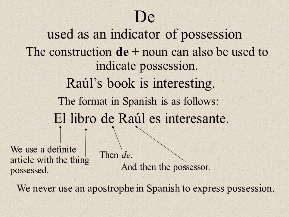 De used as an indicator of possession