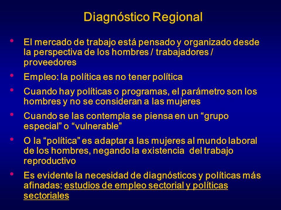 Diagnóstico Regional El mercado de trabajo está pensado y organizado desde la perspectiva de los hombres / trabajadores / proveedores.