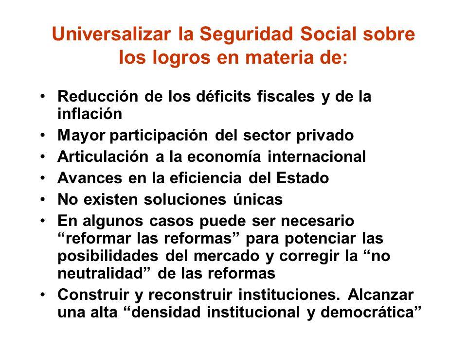 Universalizar la Seguridad Social sobre los logros en materia de: