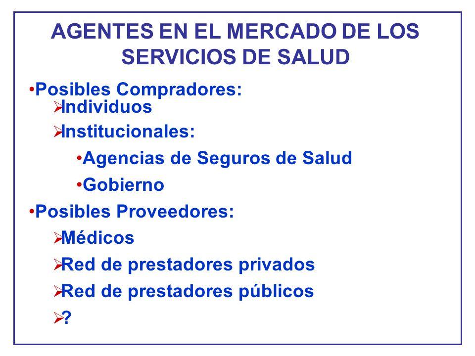 AGENTES EN EL MERCADO DE LOS SERVICIOS DE SALUD