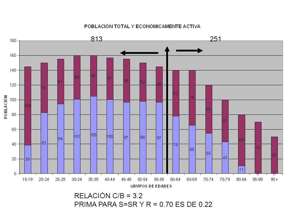 813 251 RELACIÓN C/B = 3.2 PRIMA PARA S=SR Y R = 0.70 ES DE 0.22