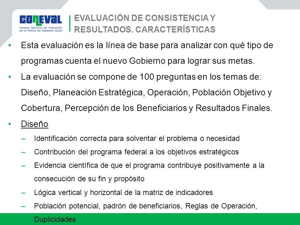 Evaluación de Consistencia y Resultados. Características