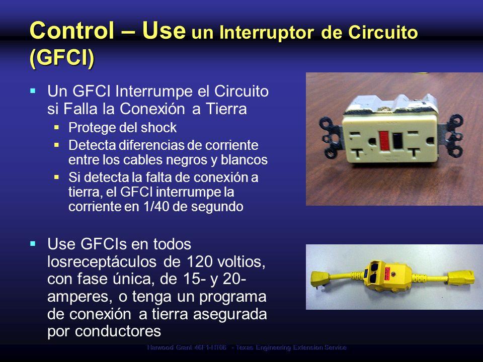 Control – Use un Interruptor de Circuito (GFCI)