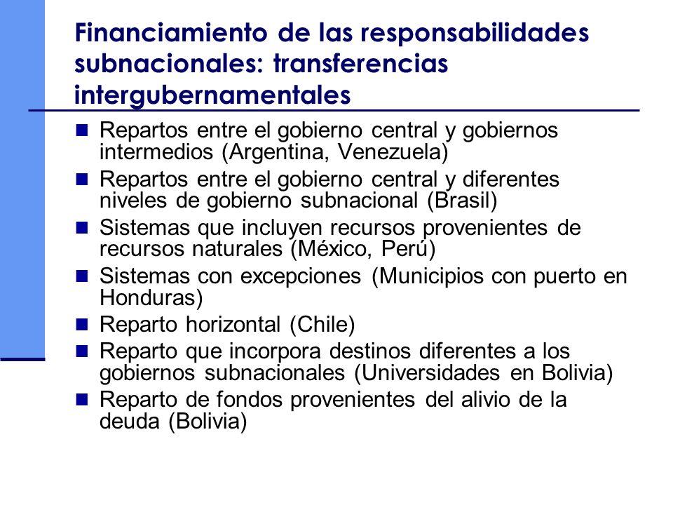 Financiamiento de las responsabilidades subnacionales: transferencias intergubernamentales