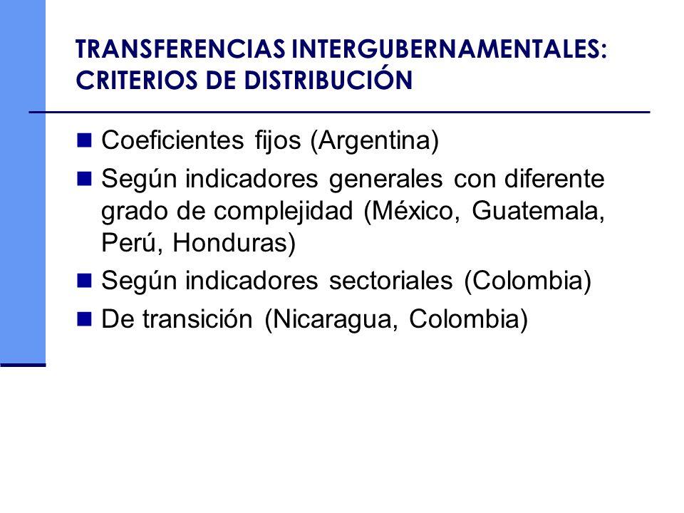 TRANSFERENCIAS INTERGUBERNAMENTALES: CRITERIOS DE DISTRIBUCIÓN