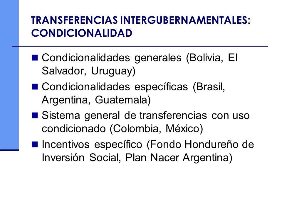 TRANSFERENCIAS INTERGUBERNAMENTALES: CONDICIONALIDAD