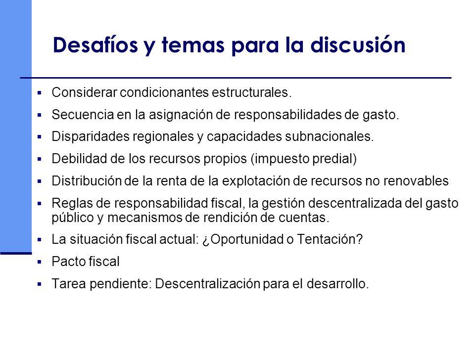 Desafíos y temas para la discusión