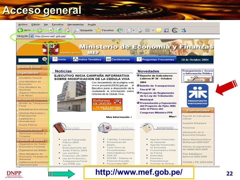 Acceso general http://www.mef.gob.pe/ 22