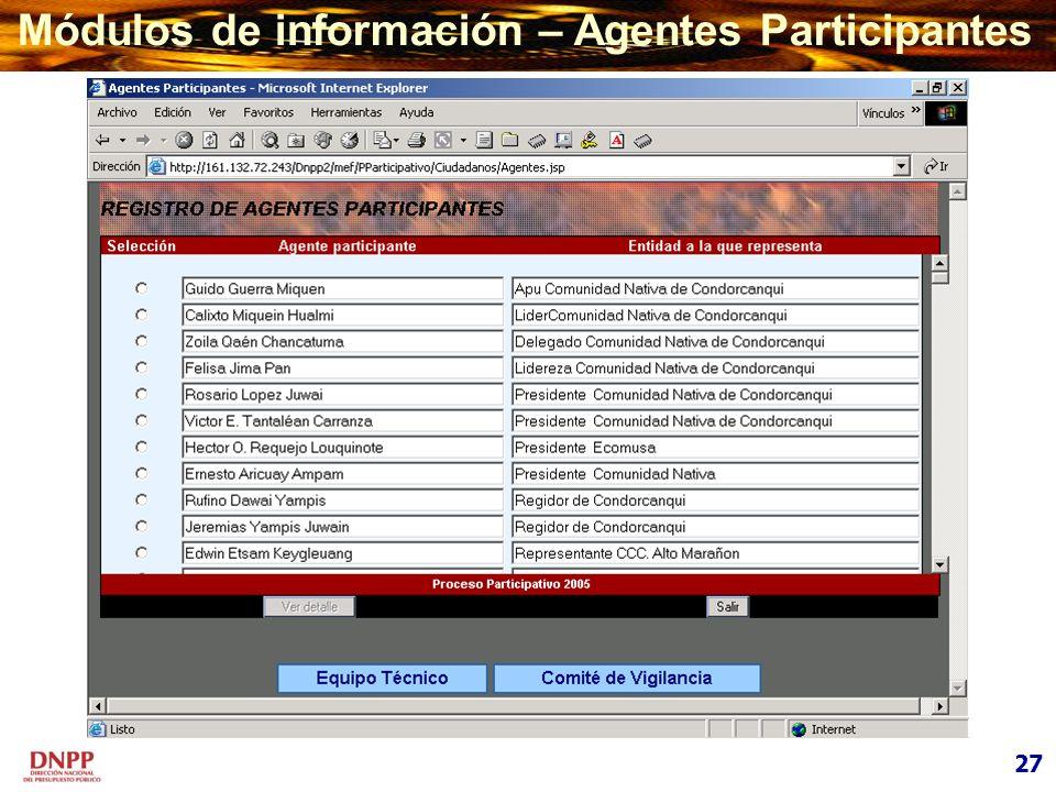 Módulos de información – Agentes Participantes
