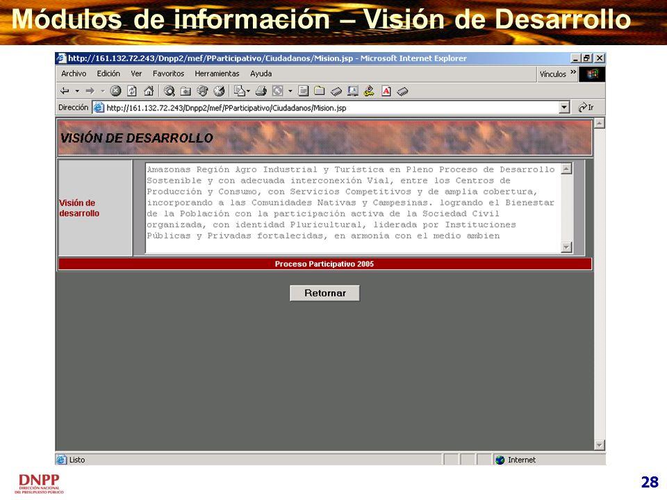 Módulos de información – Visión de Desarrollo