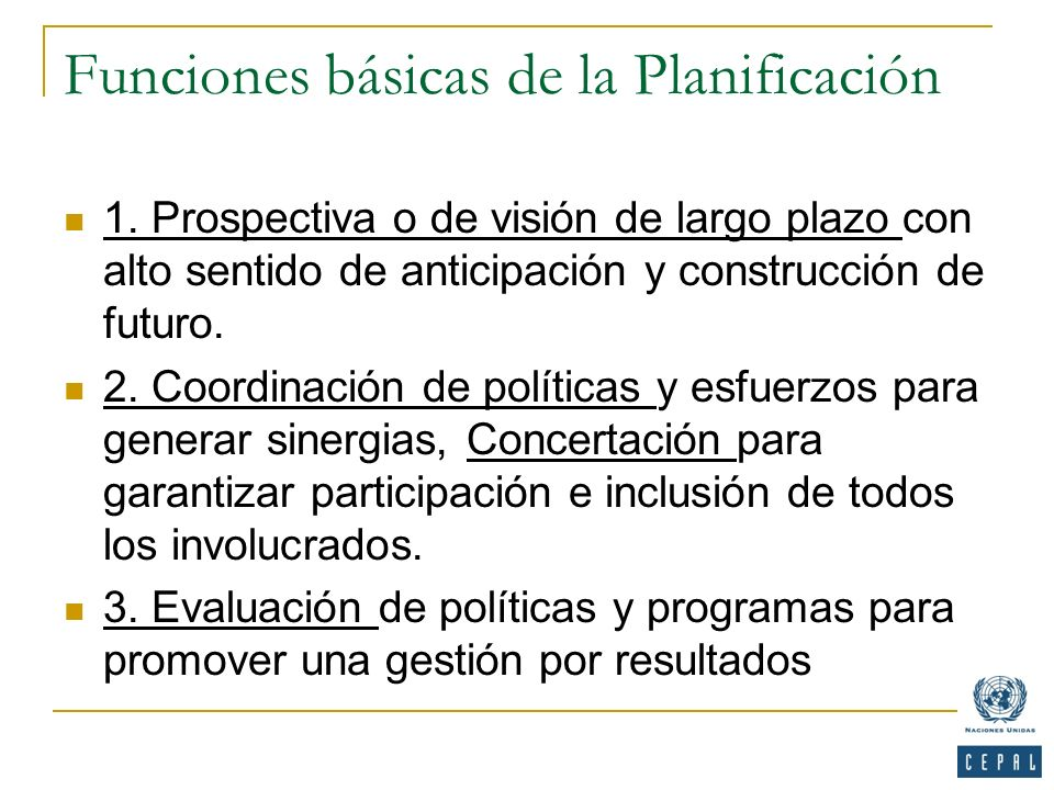 Funciones básicas de la Planificación
