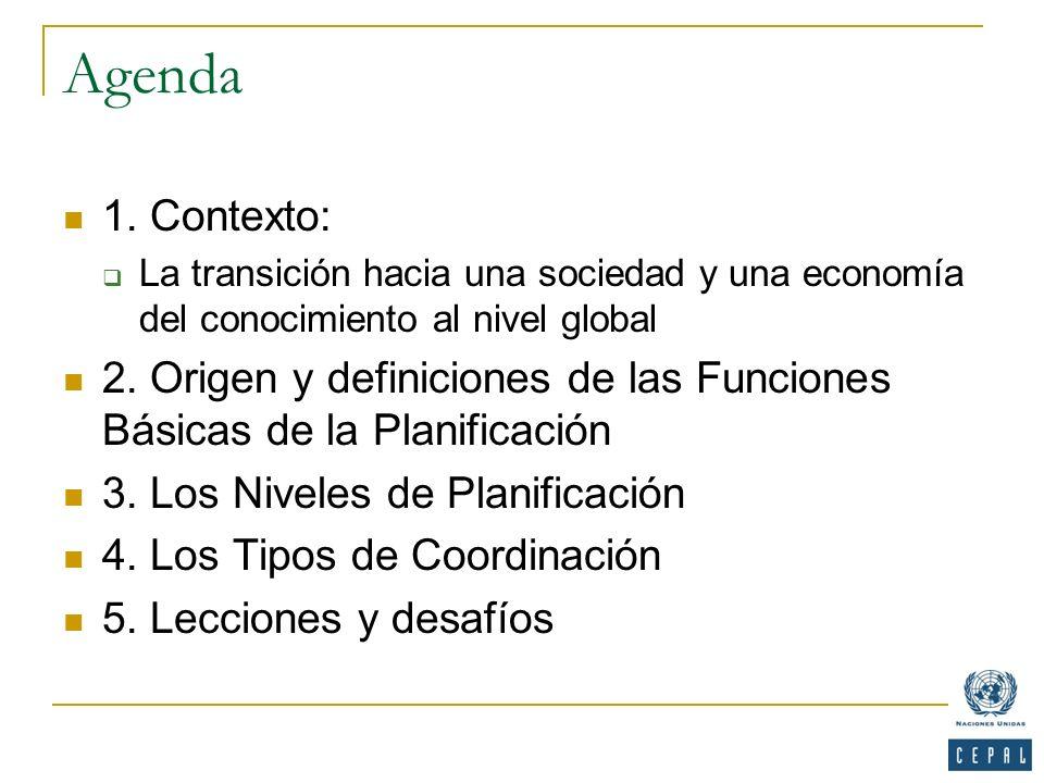 Agenda 1. Contexto: La transición hacia una sociedad y una economía del conocimiento al nivel global.
