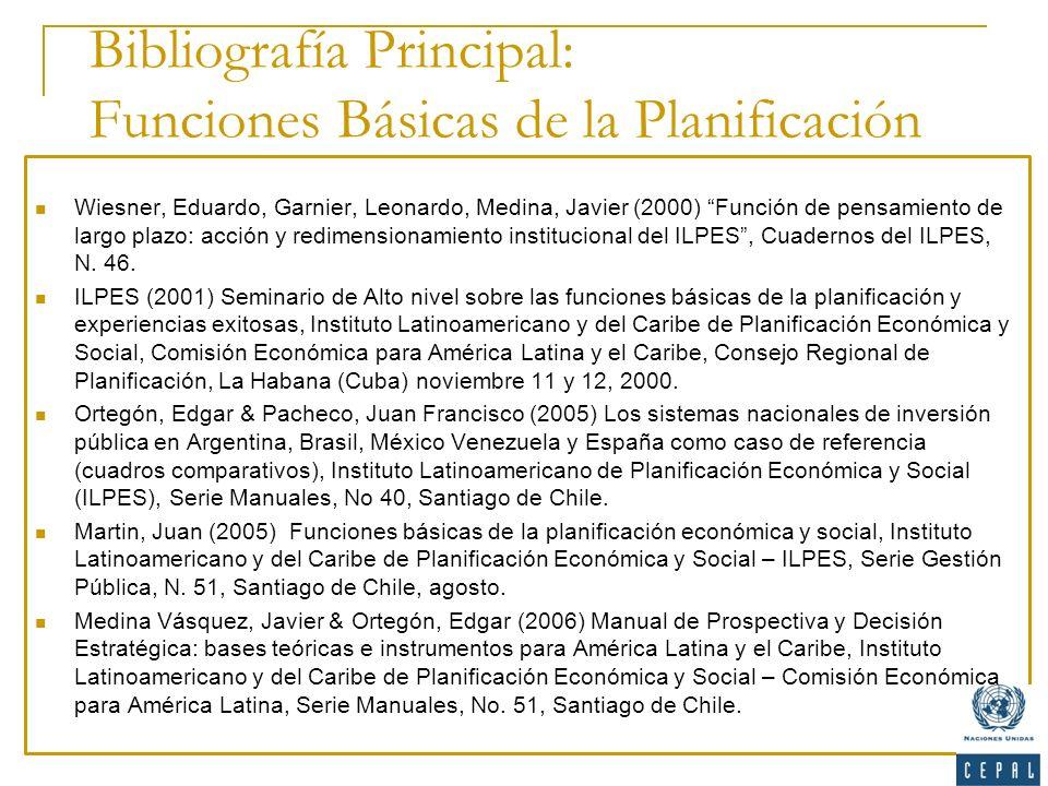 Bibliografía Principal: Funciones Básicas de la Planificación