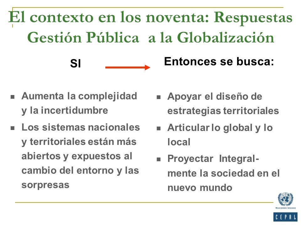 El contexto en los noventa: Respuestas Gestión Pública a la Globalización