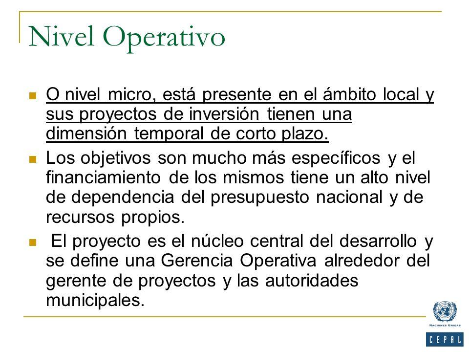 Nivel Operativo O nivel micro, está presente en el ámbito local y sus proyectos de inversión tienen una dimensión temporal de corto plazo.