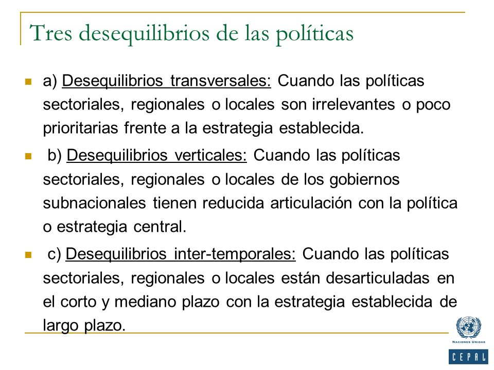 Tres desequilibrios de las políticas