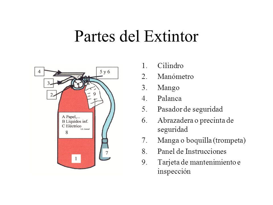 Partes del Extintor Cilindro Manómetro Mango Palanca