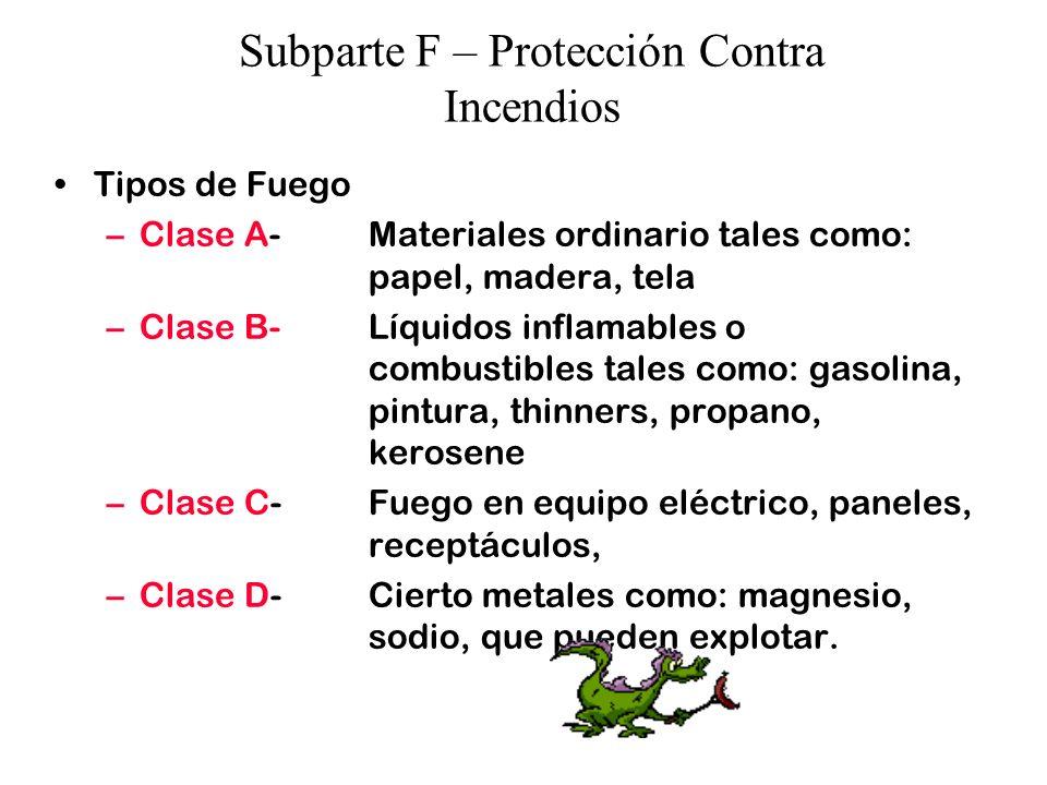 Subparte F – Protección Contra Incendios