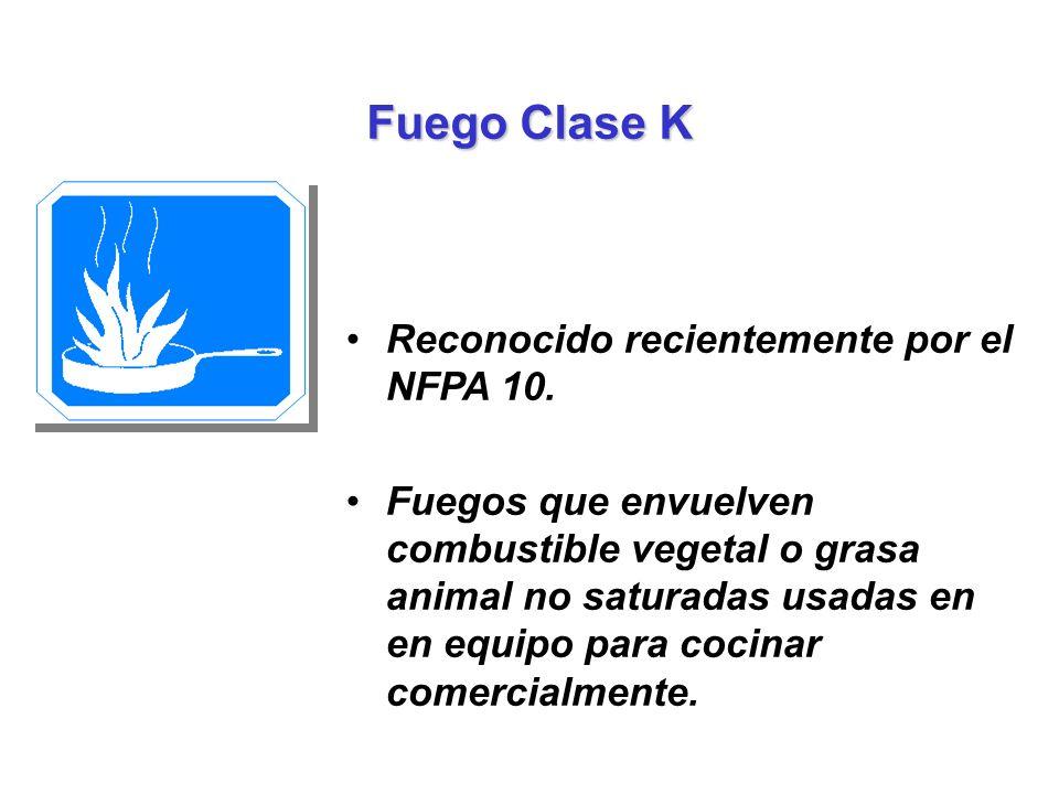 Fuego Clase K Reconocido recientemente por el NFPA 10.