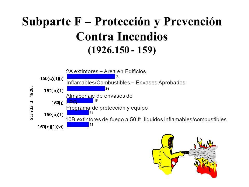 Subparte F – Protección y Prevención Contra Incendios (1926.150 - 159)