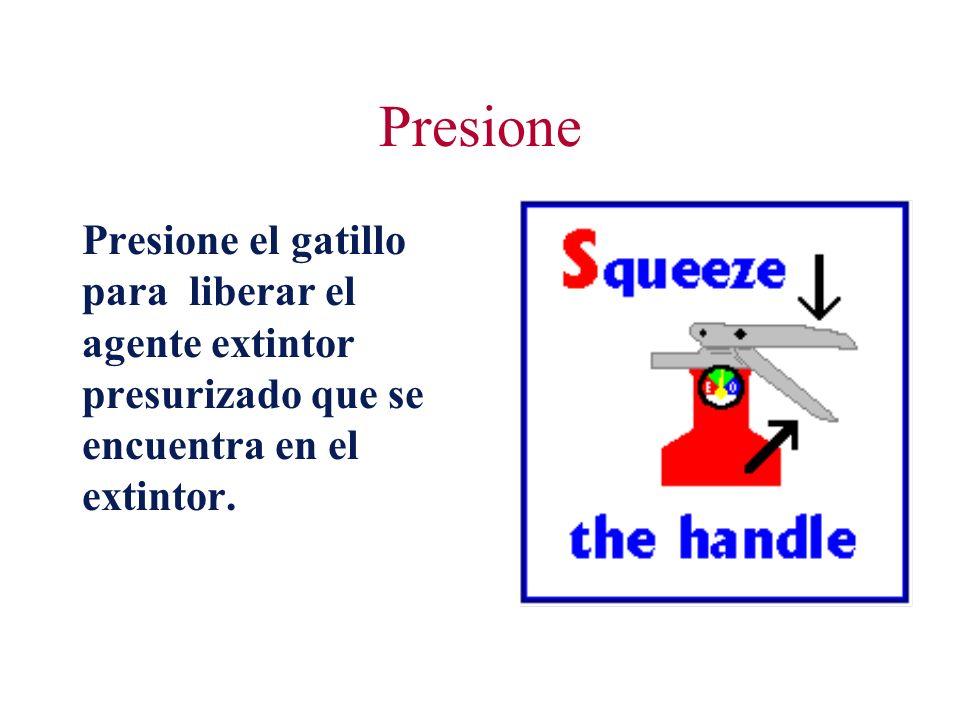 Presione Presione el gatillo para liberar el agente extintor presurizado que se encuentra en el extintor.