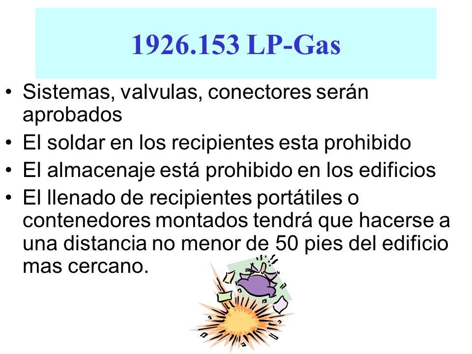 1926.153 LP-Gas Sistemas, valvulas, conectores serán aprobados