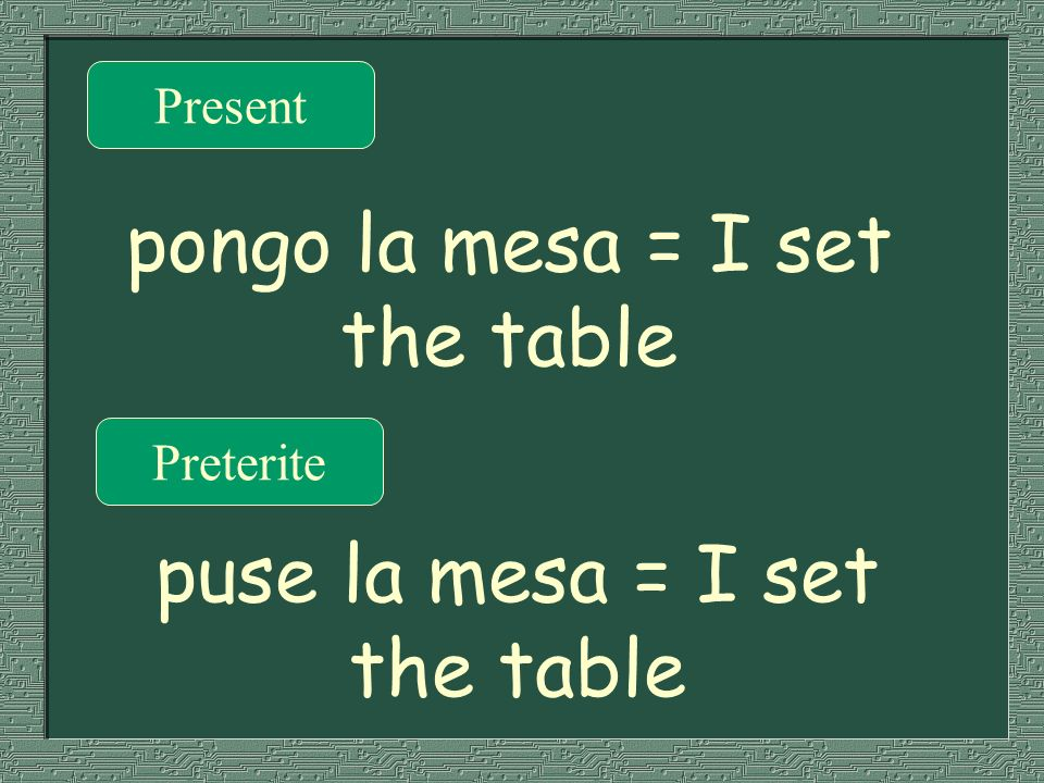 pongo la mesa = I set the table