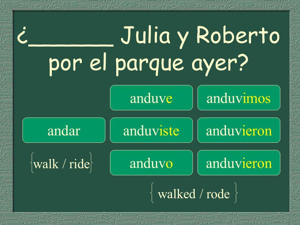 ¿______ Julia y Roberto por el parque ayer