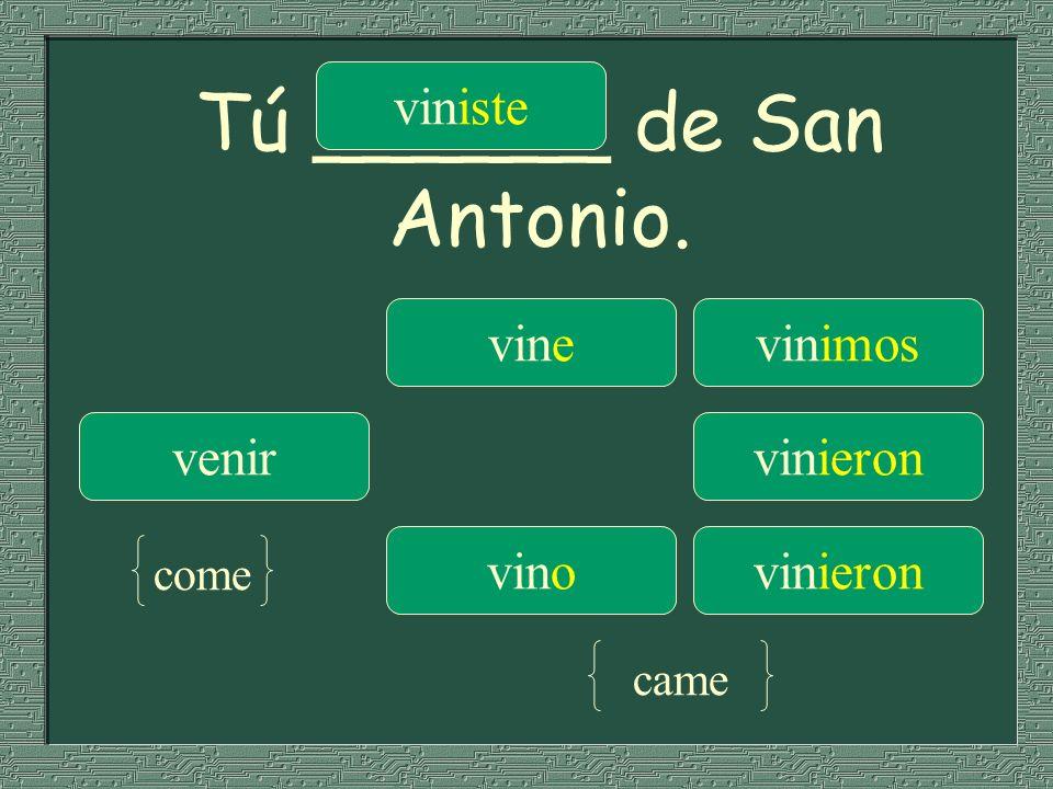 Tú ______ de San Antonio.