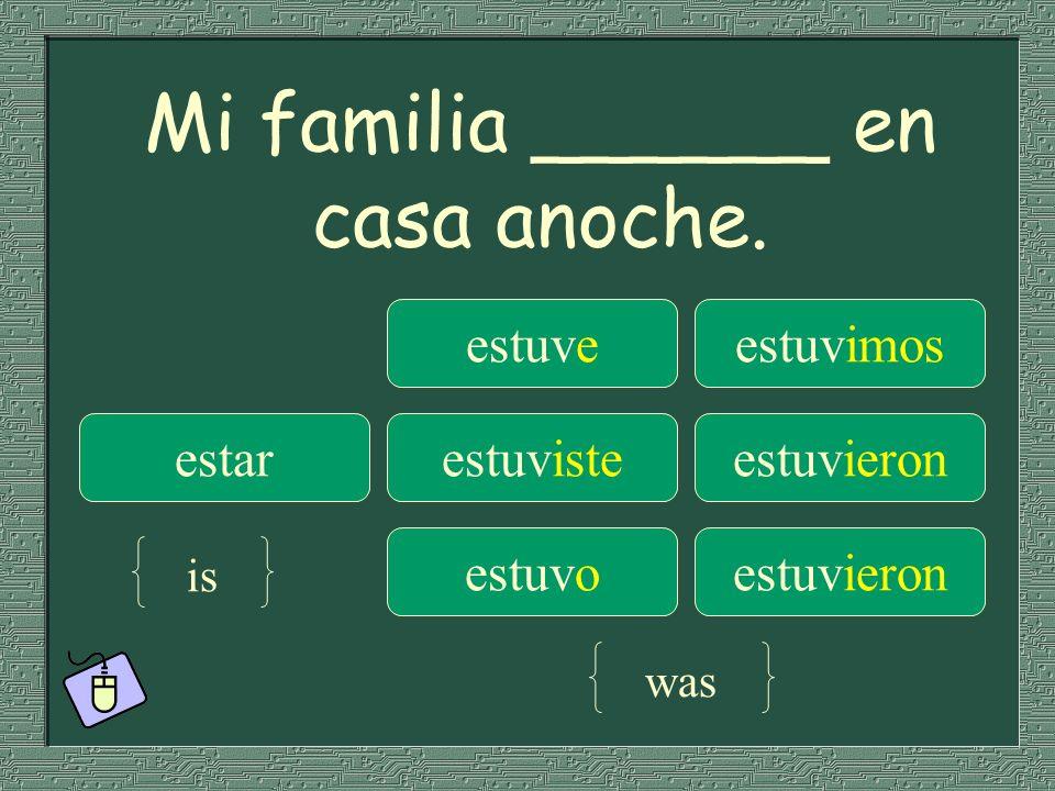 Mi familia ______ en casa anoche.