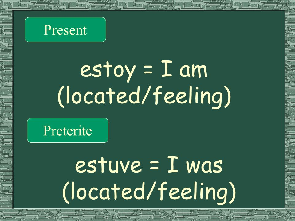 estoy = I am (located/feeling)